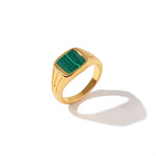 Square Natural Green Malachite Rings