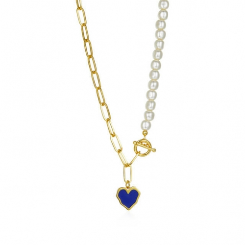 Ridge Heart Pearl T-Bar Chain Necklace